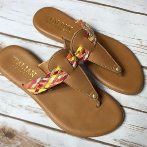 Pink + Yellow Brown Sandals Women's Size 7.5 Shoes